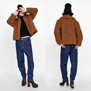 Zara Jackets & Coats - Zara Blogger Brown Teddy Curly Faux Fur Coat M